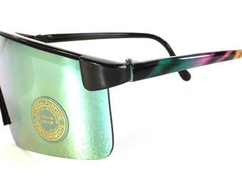 vintage 80s deadstock shield razor blade style sunglasses oversized wrap around revo plastic lightweight black rainbow tiger stripe NOS b103