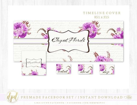 Premade DIY Facebook Set | Facebook Timeline | Facebook Package | Facebook Graphics | Business Branding | INSTANT DOWNLOAD-BS597