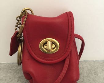 Vintage Never Used COACH Red Leather Mini Daypack Backpack Keychain Key Fob