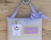 SHIPS NEXT DAY,Purple Chevron,Personalized,Girl tooth fairy pillow,Tooth fairy pillow,Chevron,Lavender,Gold embroidery,ships next day