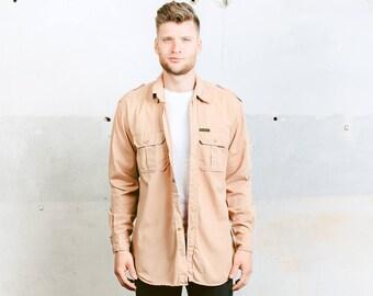 80s Safari Style Shirt . Beige Long Sleeve Shirt Peak Perfomance Vintage Shirt Button Down Shirt Casual Wear Boyfriend Gift . size Large