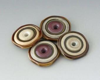 Southwest Disks - (4) Handmade Lampwork Beads - Bone, Lavender