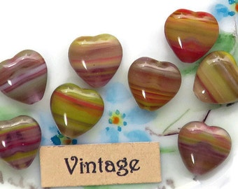 Vintage Heart beads, Red Hearts, Glass heart beads,Czech heart beads,Valentines Day, 10mm Purple Striped Green Colorful Puffy Pretty #834