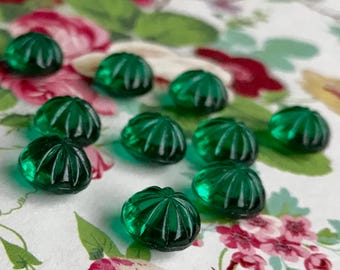 Vintage Glass Cabochons,6mm cabochons, Art Deco cabochons, Ribbed Emerald Green Pressed glass, Cabs NOS #1002