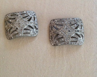 Vintage pair of rhinestone belt buckles. FREE SHIPPING