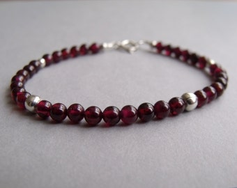 Red Garnet Round Beads with Sterling Silver Round Bead Gemstone Stacking Bracelet