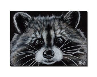 "RACCOON 20 woodland critter raton laveur painting Sandrine Curtiss ORIGINAL art ACEO 2.5""x3.5"""