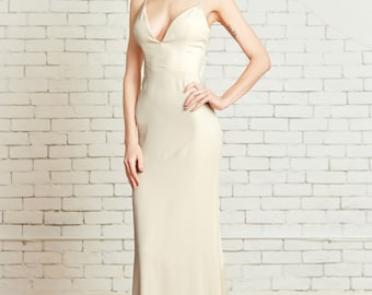 "Plunging V Neck, Stretch Silk Slipdress, Low back, Spaghetti Straps, Minimal Modern Chic, the ""Lumi"" CUT TO ORDER"