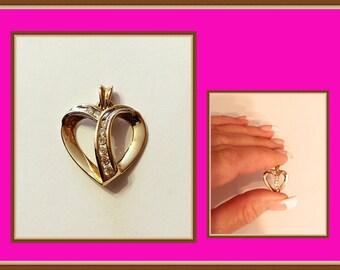 Diamond Heart Pendant, 10K, Yellow Gold, 2 Grams, Small, Vintage 1989