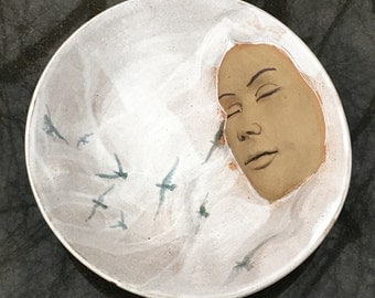 Ceramic Bird Bowl Face Sculpture, Snow Queen Roundel, Wall Hanging Serving Platter Goddess Art