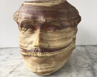 Porcelain face planter Einstein portrait  sculpture pottery vase vessel man head