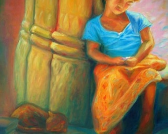 Cambodian Girl at Angkor Wat -Impressionist Painting Art Print, Portrait, Orange Painting, Warm, Girl and Cat, Asian Painting, Temple Ruins