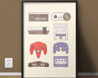 Gamer Girl, Video Game Decor, Nerdy Man Cave Wall Art Decor, College Dorm Poster, Nintendo Lover Locker Poster, Gift For Boyfriend Art Print