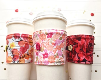 Coffee Cup Cozy, Coffee Cup Sleeve, Cup Cozy, Cup Sleeve, Reusable Coffee Sleeve - Valentine Florals [67-69]