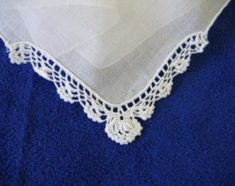 EMBROIDERY BLANK White Corner Lace HANDKERCHIEF-Supply
