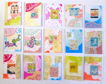 Original, Colourful Spring Collage Greeting Cards/Notelets, A7 Size, Each Unique Ltd Edition Art Cards, Blank Inside