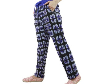 Casual Boho Funky Gpysy Resort Black And Bluish Grey Printed & Dark Blue Tie Dyed Cotton Jersey Pants With Elastic Waist And 2 Pockets