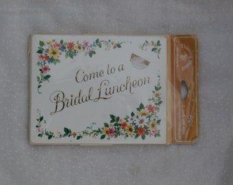 Come to a Bridal Luncheon 8 Vintage Invitation Cards, Wildflowers