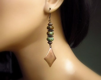 Sage Green Earrings, Green Opal Stone Earrings, Rustic Drop Earrings, Antiqued Copper, Wire Wrapped, Natural Stone Earrings, Brown and Gree