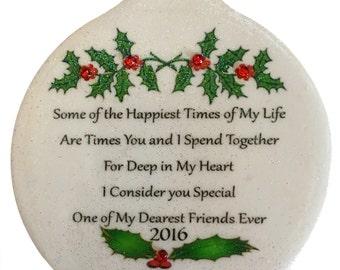 Dearest Friend Ever Special Bond Best Love Porcelain Christmas Ornament Rhinestone BFF GIFT