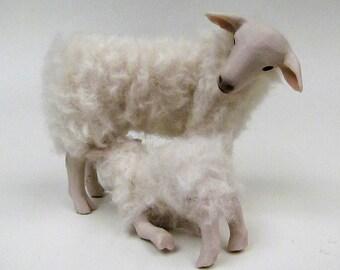 Doll House Scale Irish Galway Sheep With Nursing Lamb