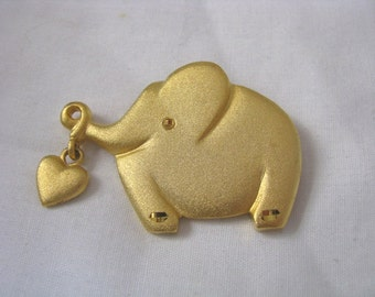 Gold elephant with heart dangle vintage brooch pin