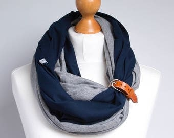 MARINE infinity scarf with leather cuff, scarf, scarf with cuff, lightweight scarf, spring scarf with cuff, infinity scarves, cotton