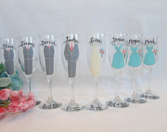 EXACT DRESS REPLICA Bridal Champagne Flutes, Hand Painted Bridesmaid Wine Glasses, Bridesmaid Champagne Glasses, Personalized Bridal Gifts