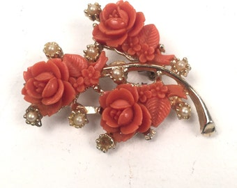 Vintage 1960s Orange Floral Brooch with Pearls