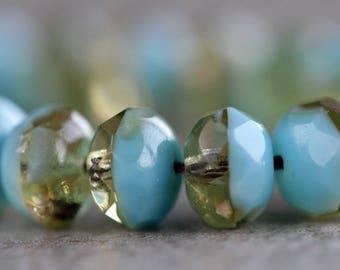 Bi-colour Czech Glass Beads, Fire Polished Faceted Rondelles, Glass faceted donut beads, Glass gemstone donut beads, 6x8mm (20pcs) NEW