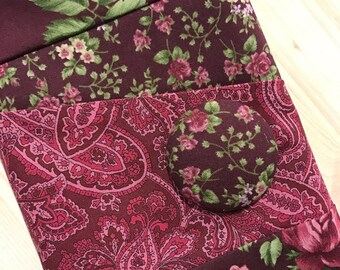 Wine & Magenta Roses and  Paisley Crochet Hook Organizer Case with Zipper Pocket Amour Clover Soft Grip Tulip Polymer Clay Tunisian