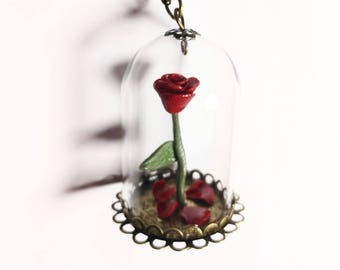 Red enchanted rose necklace. Cloche glass. Beaty and the beast inspired.