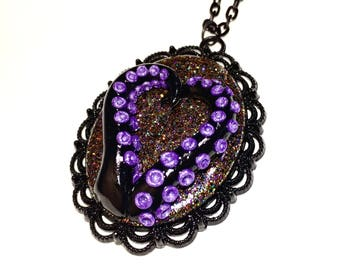 Tentacle cameo necklace. Octopus necklace. purple, black, multi color. Gifts for her. heart necklace