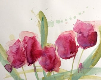 Pink Tulips no. 6 Original Floral Watercolor Painting by Angela Moulton 8 x 10 inch with 11 x 14 inch White Mat