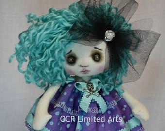 Gothic doll Emily Rag Goth Vintage eyes tattered spooky cute emo collectible home decor  gift Handmade Art Doll OOAK