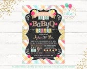 Baby BBQ Shower Invitation, Baby-Q, BabyQ, Baby Shower Invite, Rustic Baby Shower, Chalkboard Invitation, DIY Printable, Floral Plaid Gold