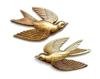 Golden Birds, Bird Wall Art, Vintage Syroco Bird Hangings, 2 Gold Bird Wall Hangings, Flying Bird Art, Flying Swallow Wall Decor, Love Birds
