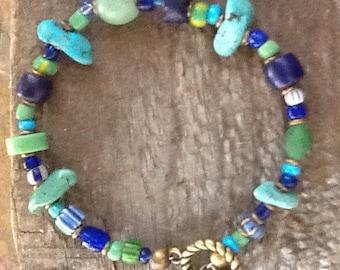 African Trade Bead Bracelet, Vintage Bead Bracelet, Blue and Green Bracelet,  Ethnic Jewelry,  Tribal Bracelet