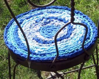 "rag rug chair pads Set of 2 round, crochet ""braided"" chairpads, boho chic, shabby chic, at home on the porch #5"
