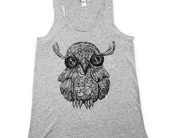 Owl Tank Top - BOHO - Womens Cute Owl Shirt -Women owl Tank Top - Heather Grey -  Small, Medium, Large, XL
