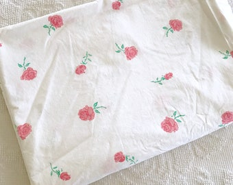 Vintage 1950's Pink Roses Bed Sheet TWIN Flat Shabby Cottage