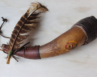 Buffalo Horn Rattle Leather Wrapped Feather Four Directions Symbol Native American Style Ceremonial