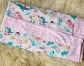 Modern Flannel Blanket, Mermaids, Whales, Receiving Blanket, Baby Blanket, Flannel Receiving Blanket, Baby Girl, Pink and Aqua, Handmade