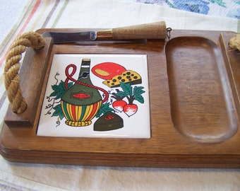 Vintage Wood Cheese Board, Porcelain Tile, 1960s Kitchen, 1970s Kitchen, Cheese Cutting Board, Kitschy Decor,
