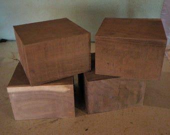 """6""""x6""""x3"""" Lot of 4 Black Walnut Bowl Blank Block Lathe Turning DIY Wood Craft Display 7B4"""