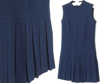 vintage 60s dress * 1960s shift dress * navy blue dress * pleated skirt dress * medium