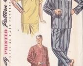 Men's Two Piece Pajamas &  Nightshirt  Pattern Simplicity  4108 Medium  ~ Convertible Collar ~ Factory Folded Uncut