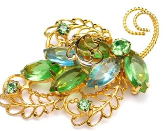 Vintage Rhinestone Leaf Brooch Pale Blue And Light Green Open Work Pin