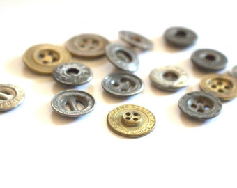 Work Wear Vintage Metal Button Lot x 15