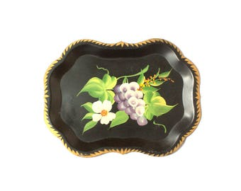 Tole Tray Vintage 1950s Hand Painted Floral